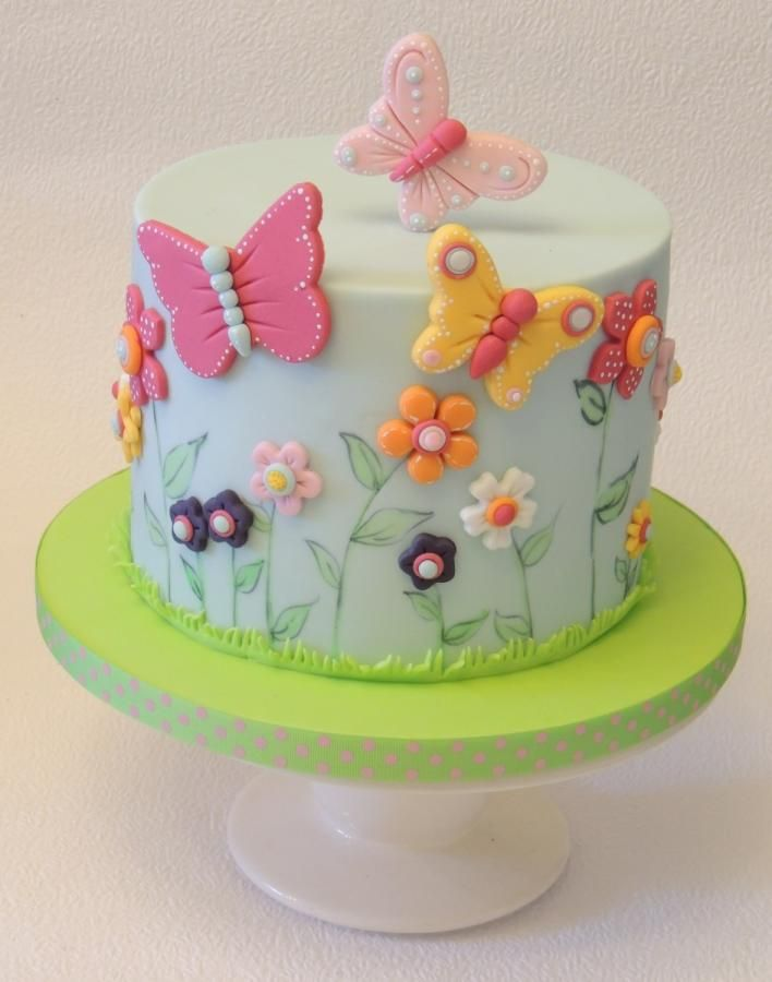 Birthday Cake With Flowers Hearts And Butterflies