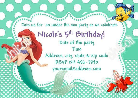 Little Mermaid party invitations Ariel Birthday Party Mermaid