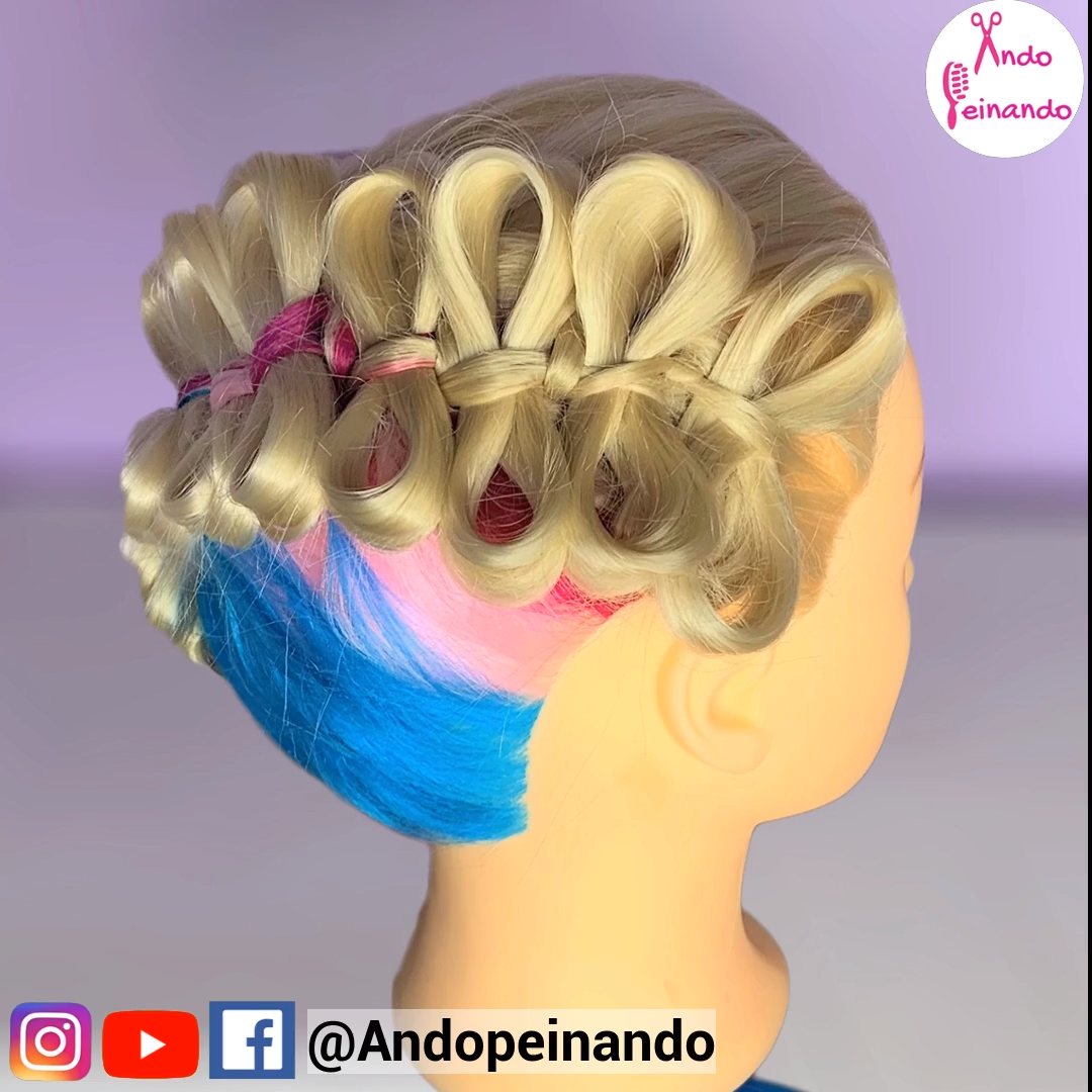 moños, lazos, trenza diagonal, bow, hairstyles, braids, hair videos, hairstyles…
