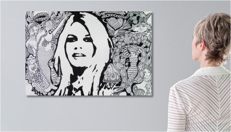 Tableau Peinture dessin Brigitte Bardot et zénitude une toile de