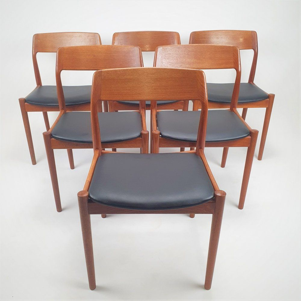 For Sale Set Of 6 Mid Century Danish Teak Dining Chairs 1960s Teak Dining Chairs Dining Chairs Chair