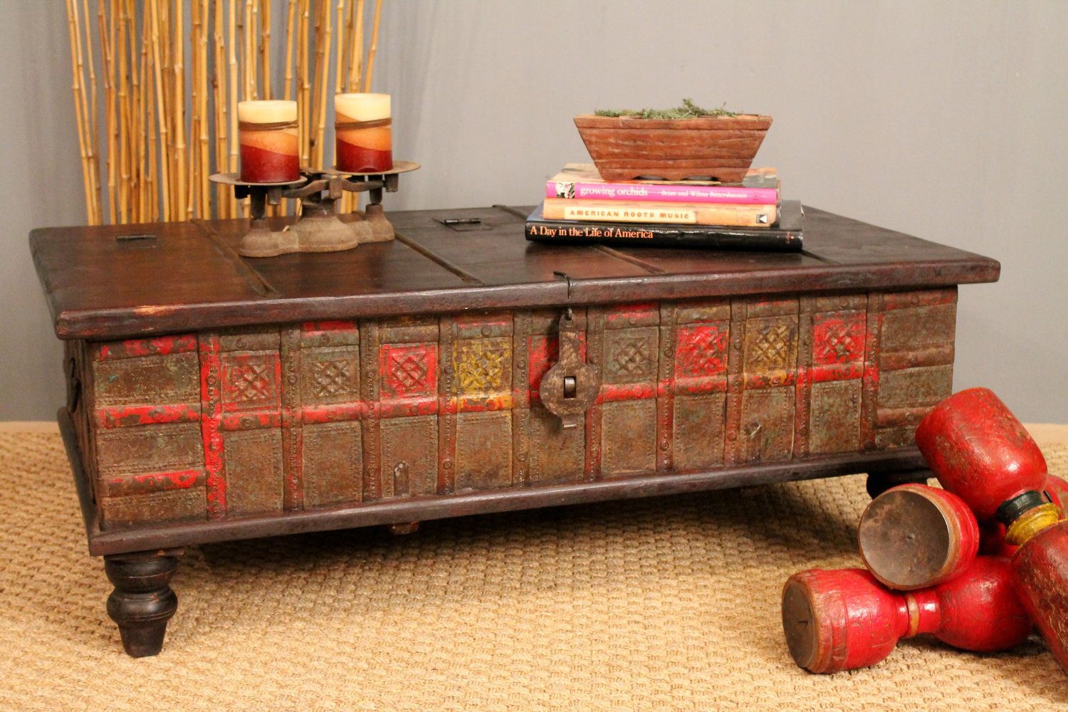 Red And Yellow Antique Trunk Coffee Table For Jessie