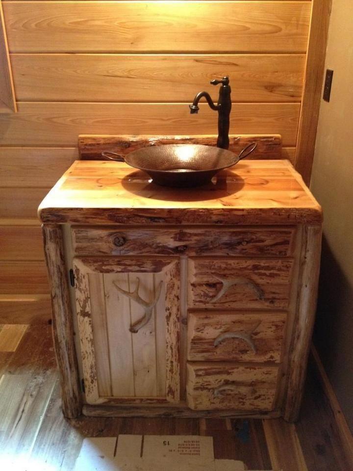 diy distressed bathroom vanity%0A Custom Made Rustic Cedar Bathroom Vanity Carl Hartman on CustomMade com