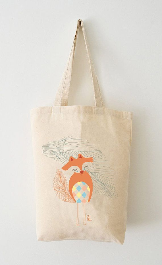 Sac / Tote Bag Renard Coton Bio par AdelFabric sur Etsy