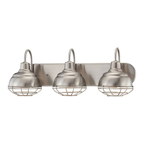 Millennium Lighting NeoIndustrial Satin Nickel X Inch Three - Bathroom vanity lights for sale