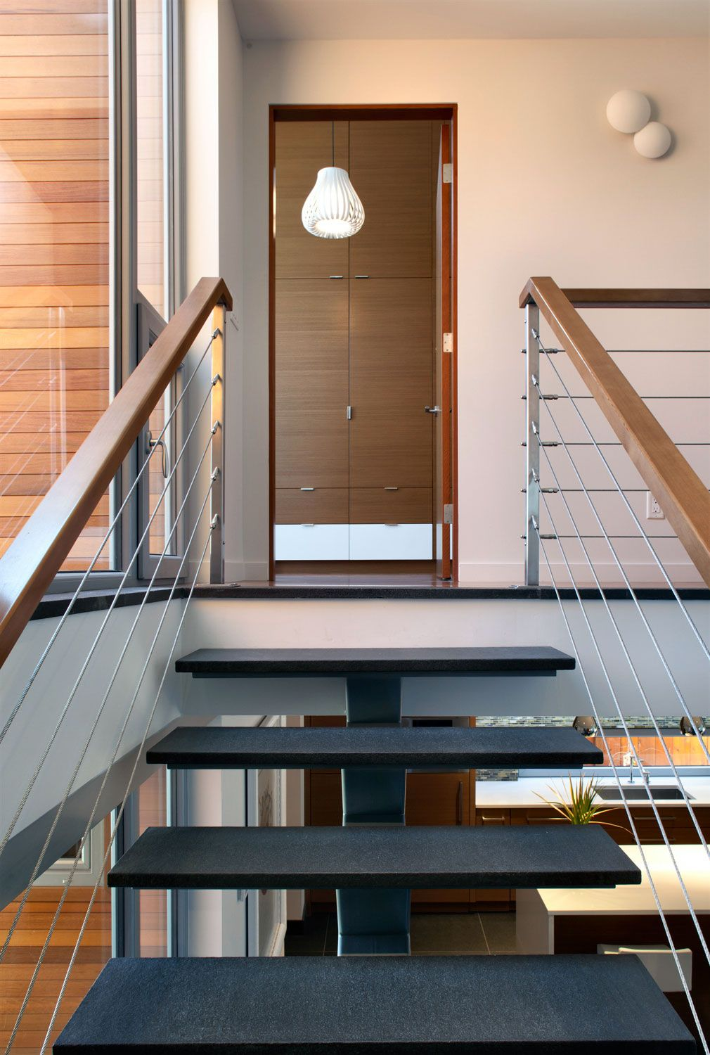 Great Wooden Handrails Ideas : Cable Wire Railings Modern Home Design Ideas  With Wooden Handrail And