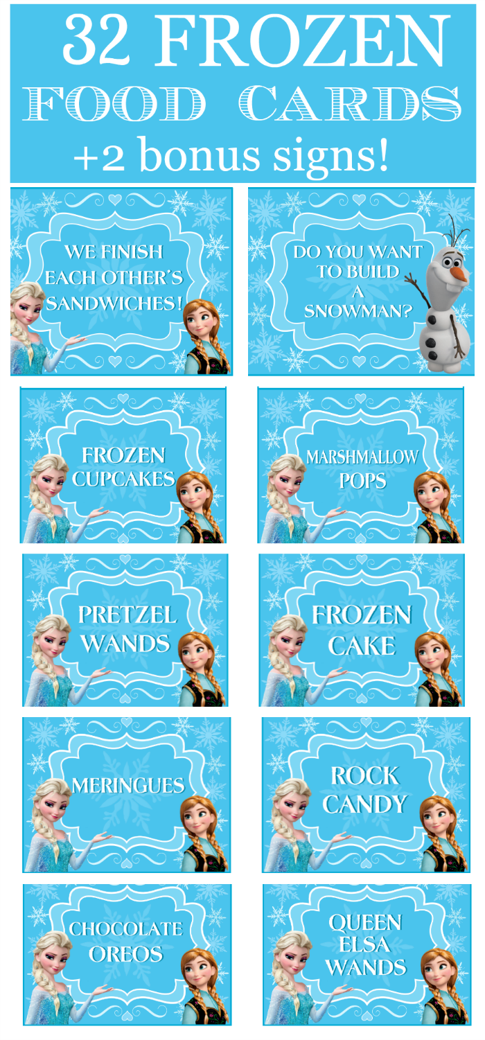 Frozen Prefilled Party Food Cards Bonus Signs Frozen Themed Birthday Party Elsa Birthday Party Frozen Bday Party