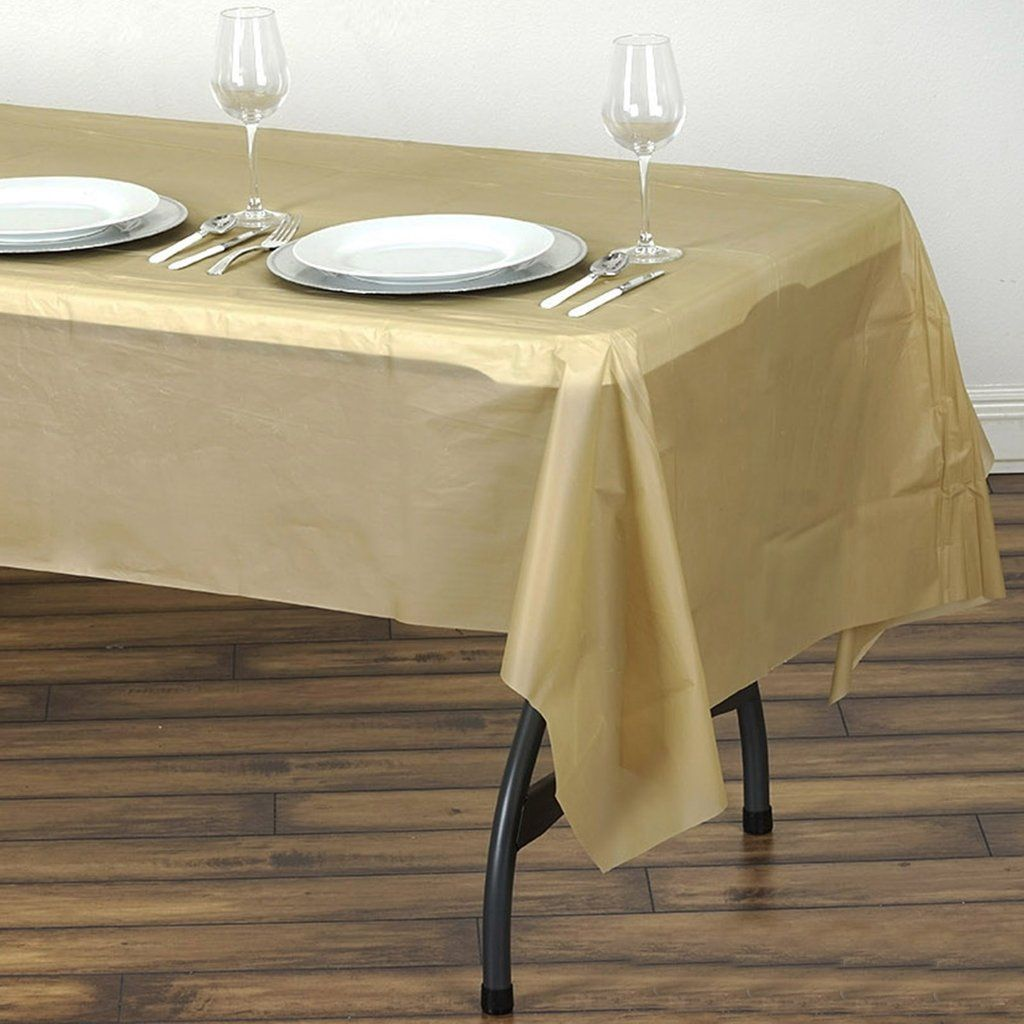 54 X 108 Gold 10 Mil Thick Waterproof Tablecloth Pvc Rectangle Disposable Tablecloth In 2020 Plastic Table Covers Plastic Tables Table Cloth
