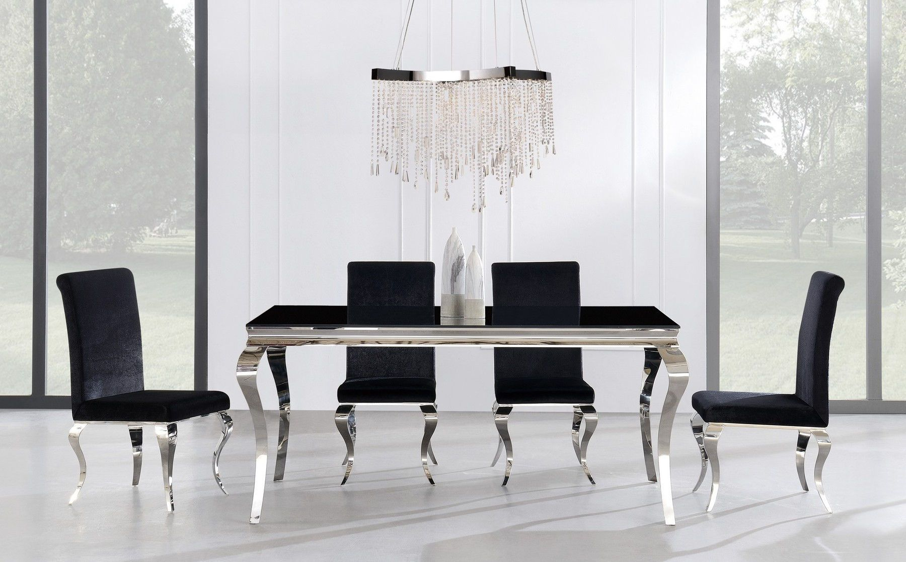 Global Usa G858 Chrome Black Modern Dining Table Dining Table