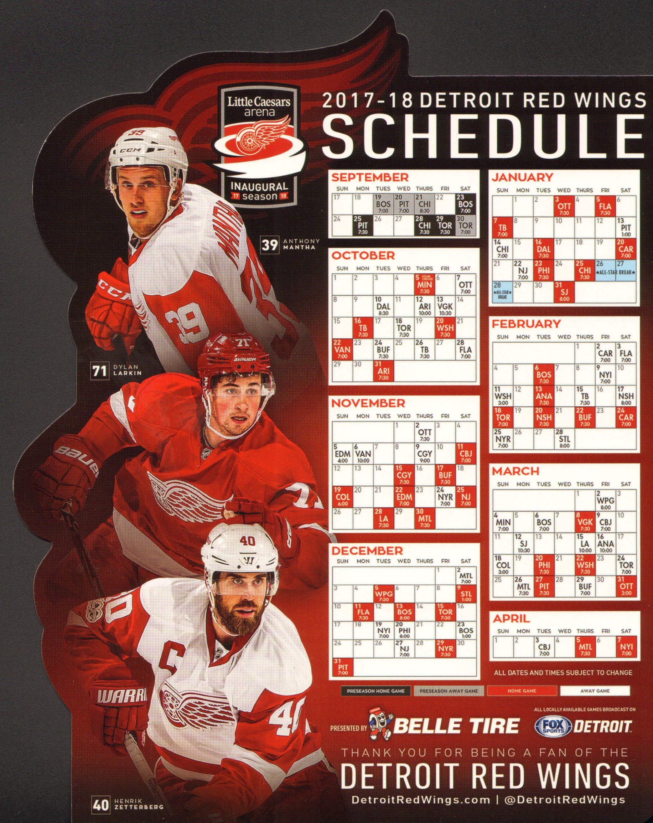 detroit red wings schedule (2017-2018) | hockey | pinterest | red
