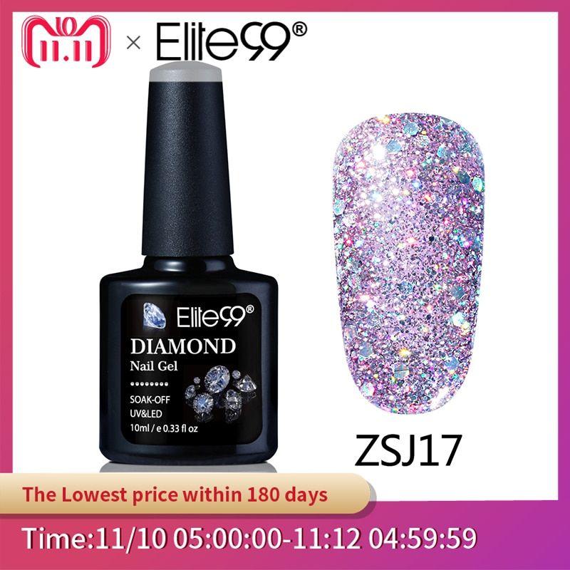 Promo Elite99 10ML Diamond Nail Gel Glitter LED UV Gel Manicure Shiny Sequins So…