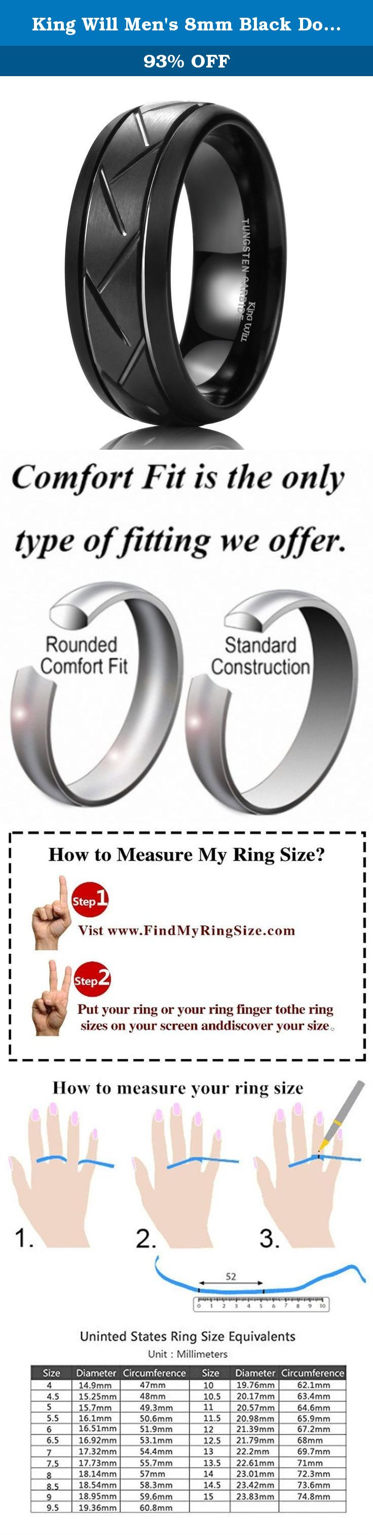 Ring sizer on screen - King Will Men S 8mm Black Domed Tungsten Carbide Ring Matte Finish Groove Design Wedding Bands 12 5