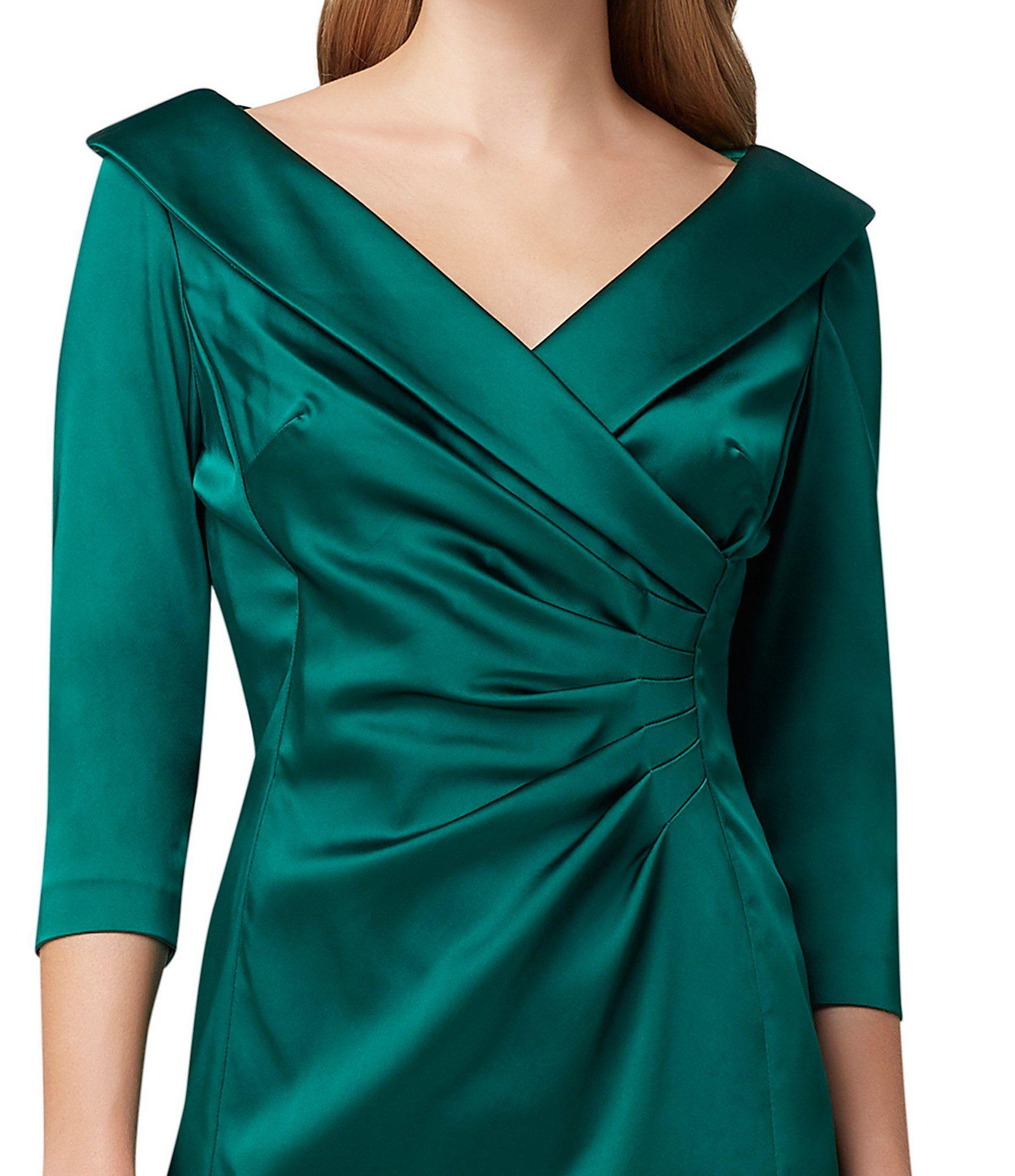 Tahari Asl Shawl Collar Ruched Waist Satin Cocktail Dress Dillard S Satin Cocktail Dress Necklines For Dresses Dress With Shawl [ 2040 x 1760 Pixel ]