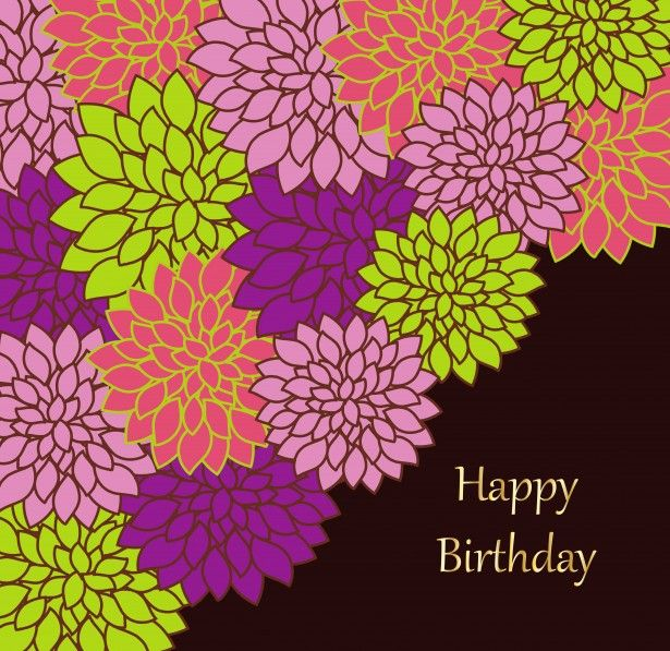 Images Of Flowers Birthday Card  Floral Birthday Card Template