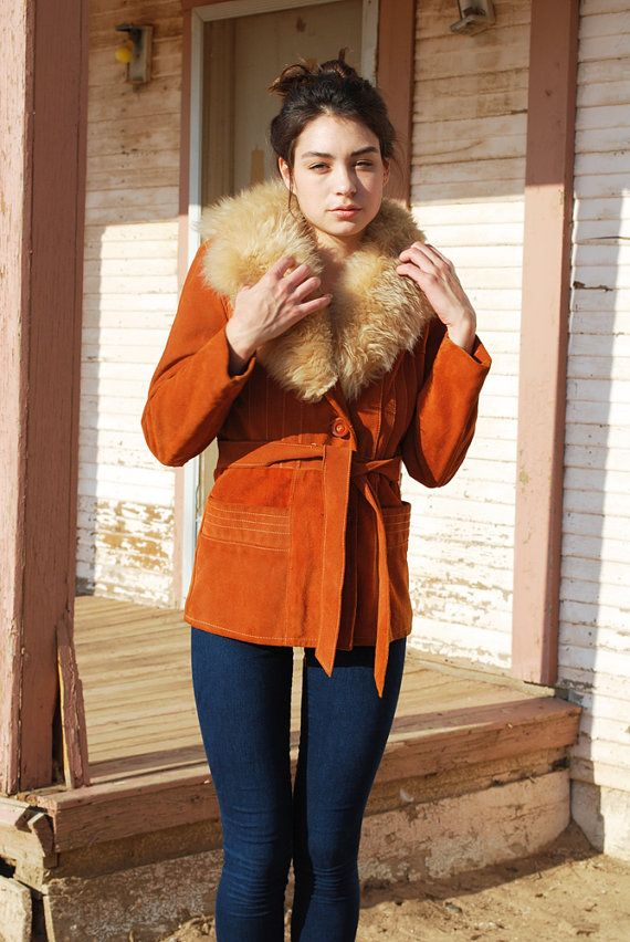 Vintage Embroidered Shearling Afghan Jacket Coat Small// 70s