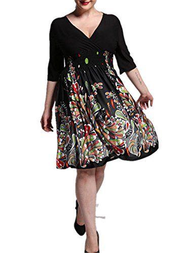 eda0c802484 VIGVOG Womens Sexy Floral Black Cocktail Prom Aline Dress Plus Size     Be  sure