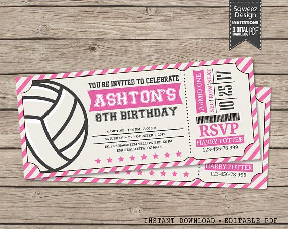 Volleyball Invitations Volleyball Birthday Invitations
