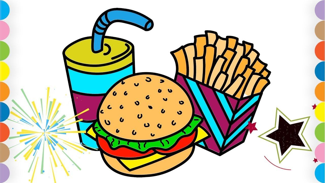 Burger Coloring Page For Kids How To Draw Burger And French