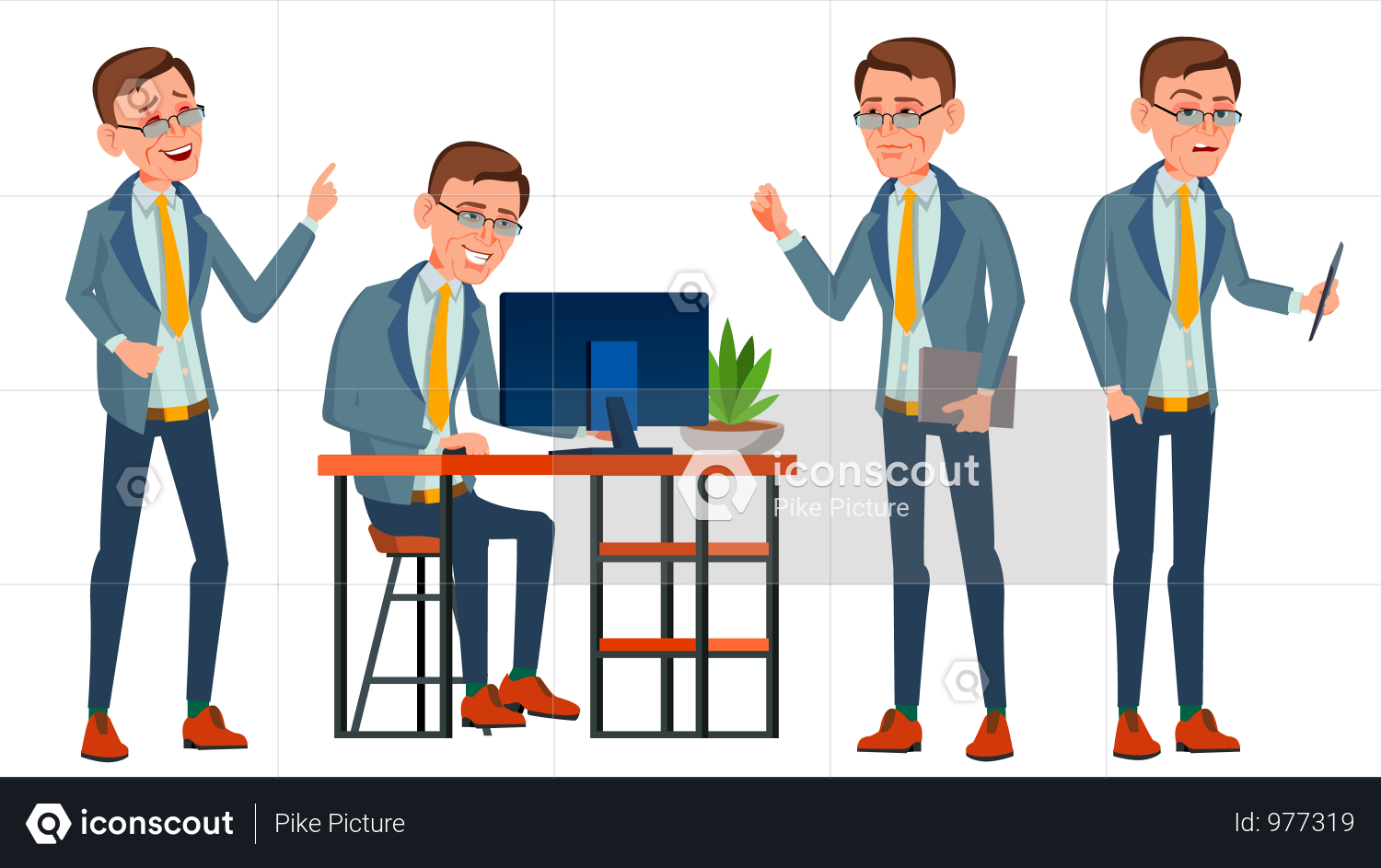 Premium Employee Working In Office On Desk Illustration Download In Png Vector Format Flat Design Illustration Illustration Character Design