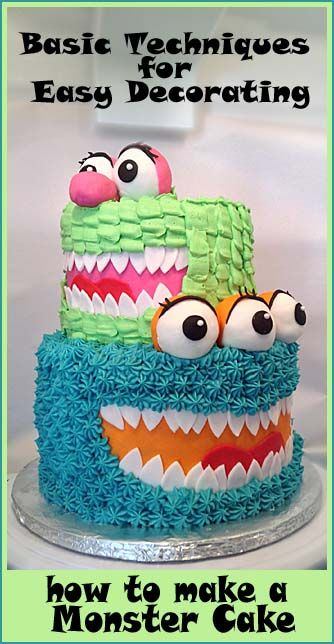 How to make a Monster Cake- easy decorating ideas.