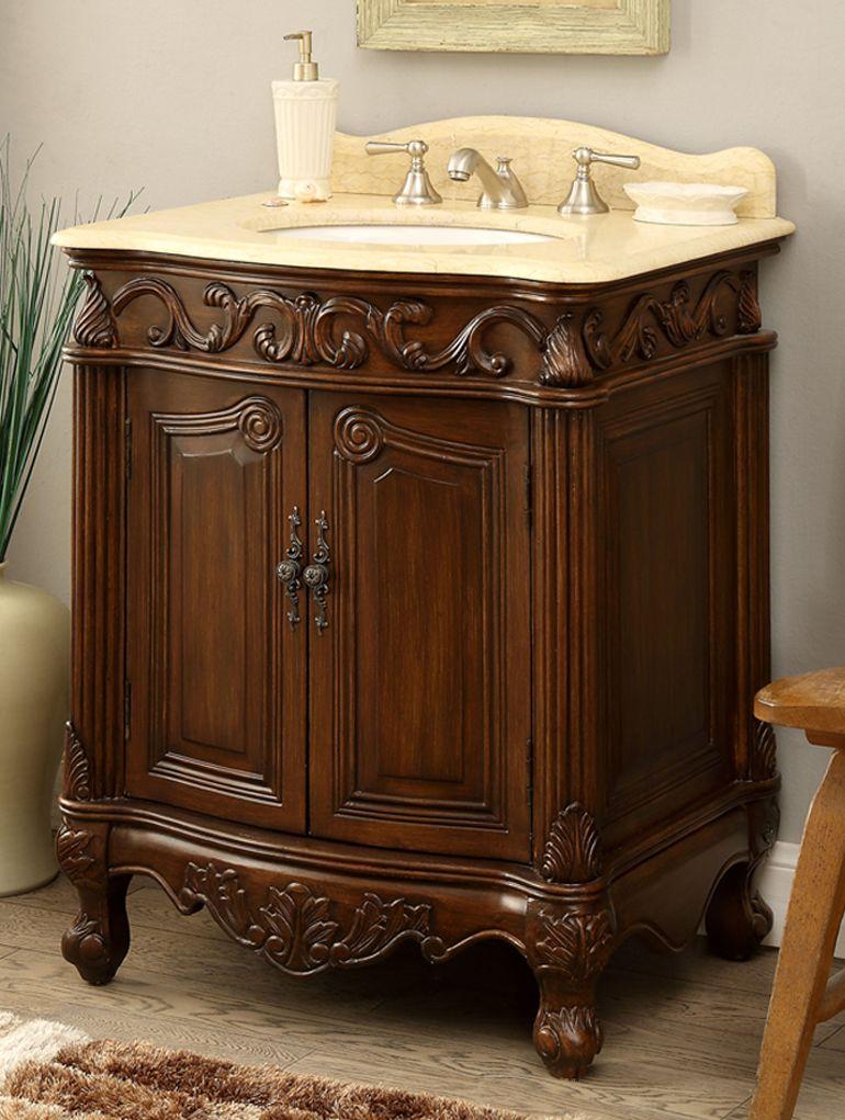 27 Inch Adelina Antique Bathroom Vanity Wood Finish Bathroom