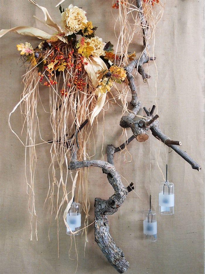 Una decorazione realizzata con rami secchi autunnali molto belli e decorativi scopri dove - Rami secchi decorativi ...