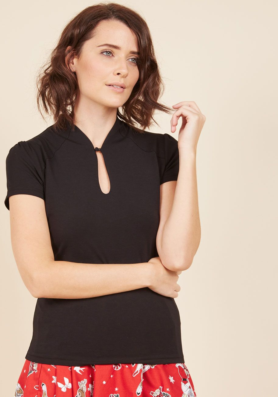 4574f5a2aa High Society Style Knit Top in Noir. Proclaim your savvy for being a  socialite by sporting this black top.  black  modcloth
