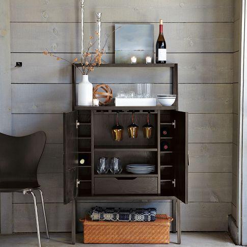 Coffee bar in the bedroom top shelf bar from west elm - Modern home bar furniture ...