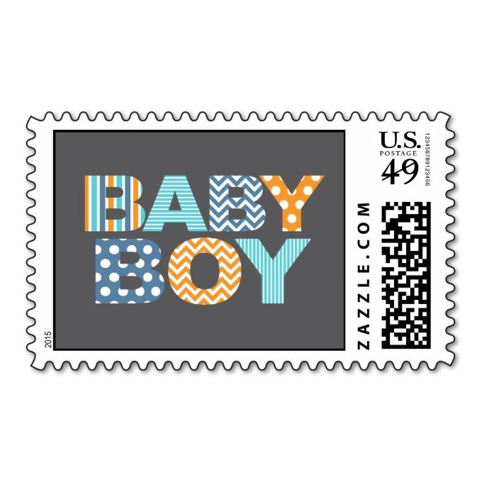 Cutout Letters Baby Shower Custom Stamp  Baby Boy  Maternidad