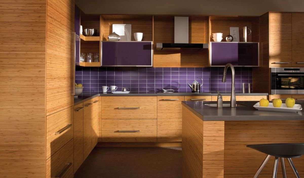 Bamboo cabinets kitchen with luxury purple backsplash tile also bamboo cabinets kitchen with luxury purple backsplash tile also black stool dailygadgetfo Choice Image