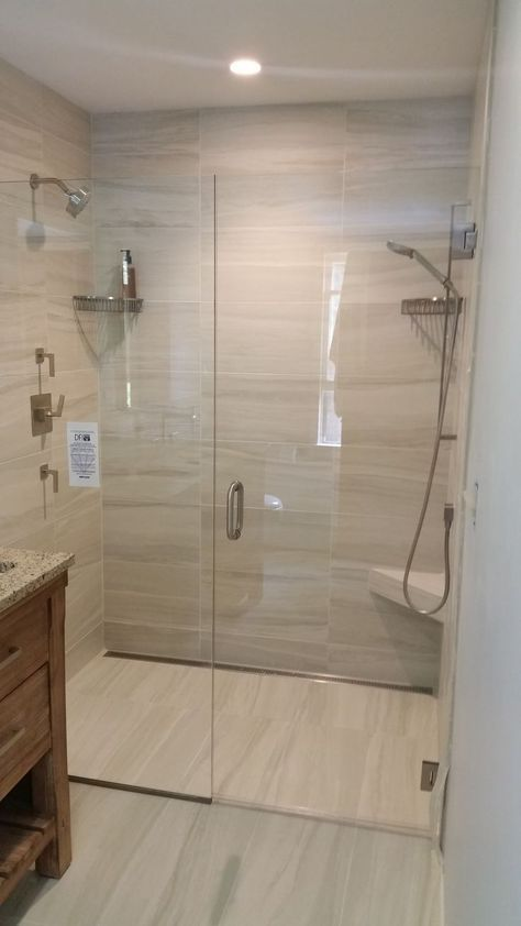 Curbless shower installation by Valley Floors Bathroom