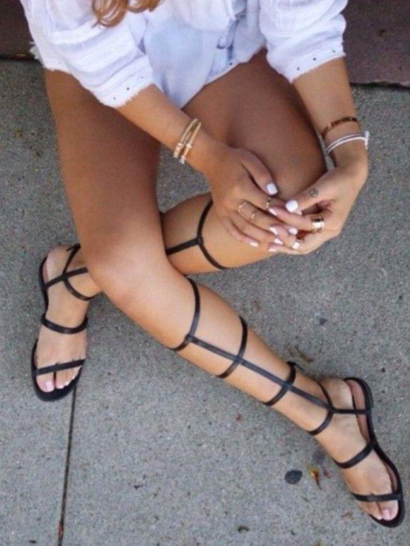 d715c29d842d Online shop free shipping gladiator sandals ladies tall calf knee high leg  flat summer boots strappy zipper shoes