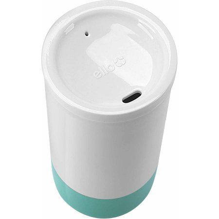 Ello Reese Double Wall BPA-Free Ceramic Travel Mug with Lid, 14-oz, Blue