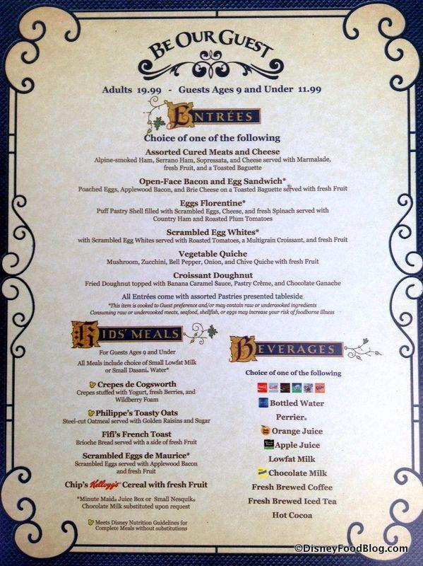 Be Our Guest Restaurant Breakfast Menu Disney World Food Disney
