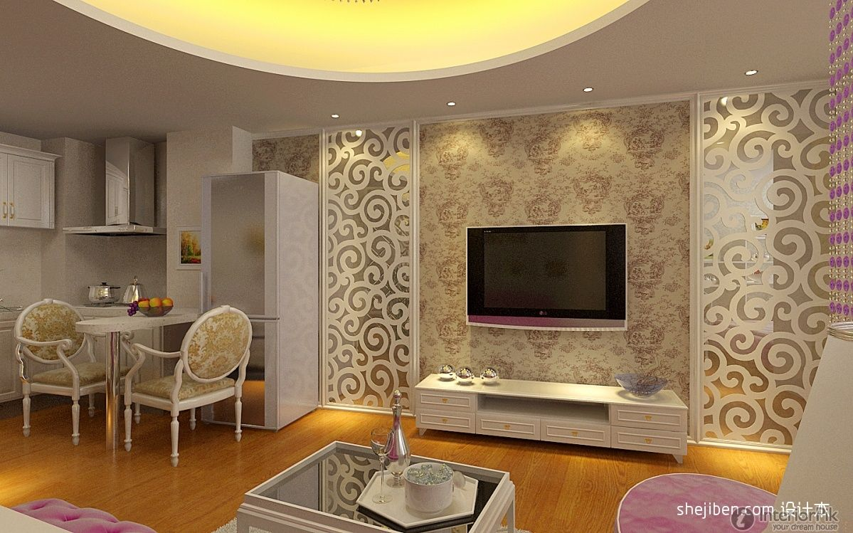 European style living room TV background wall decoration effect ...
