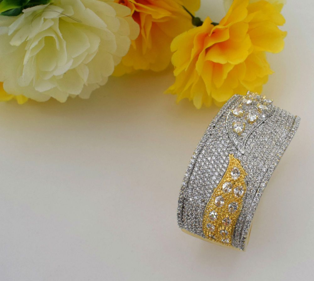 Details about indian jewelry bollywood cz ad golden bracelet