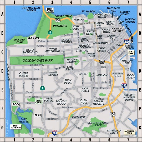 Map Of San Francisco Areas San Francisco Neighborhoods San Francisco Map Weekend In San Francisco