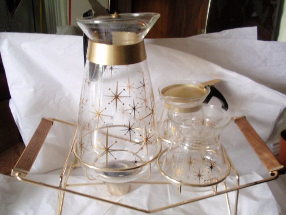 Pyrex Coffee service with Brass and Wood by MarksMidCenturyMod, $59.99