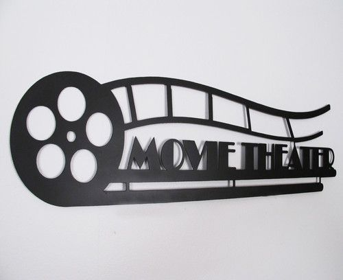 Metal Wall Art Work Movie Theater Wrought Iron Home Decor Sign Steel Man Cave Home Decor Signs Movie Room Decor Theater Room Decor