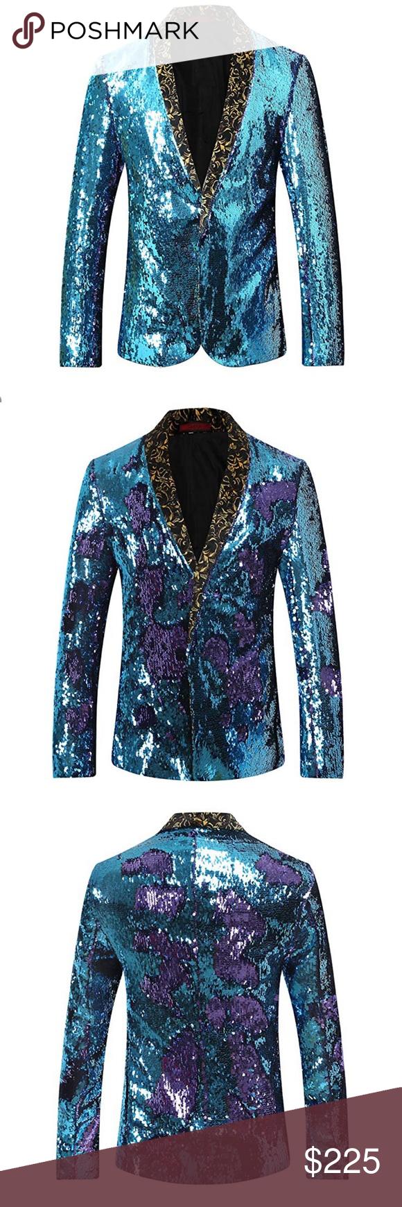 4af778b2 Elton John Style Sequined Jacket Life is a party 23786555 Men's Sport Coat  Slim Fit Shawl