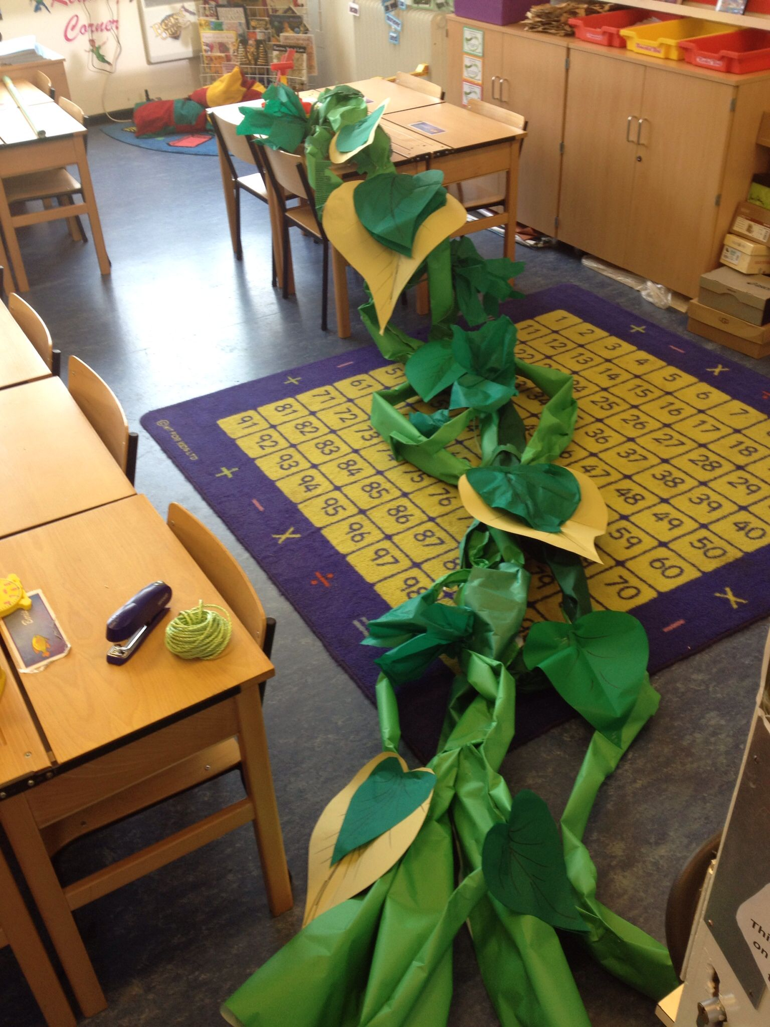 Beanstalk Made From Tubes Of Backing Paper