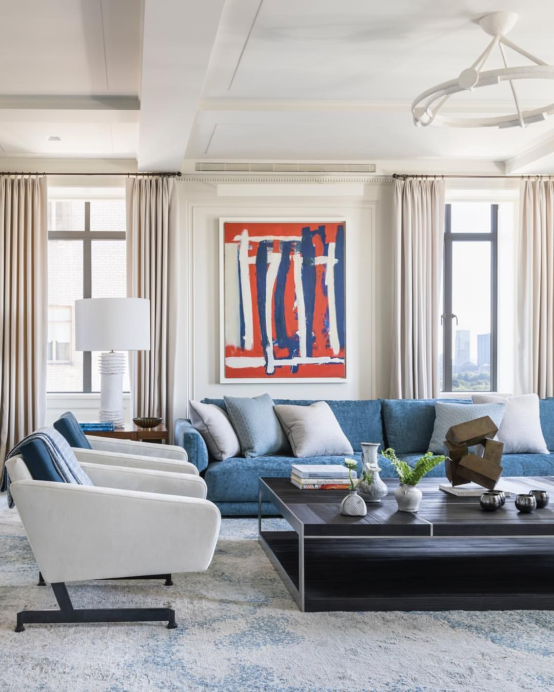 Victoria Hagan On Instagram Family Room With A Pop Of Color Architecture By Fergusonshamami Victoria Hagan Victoria Hagan Interiors Transitional Interior