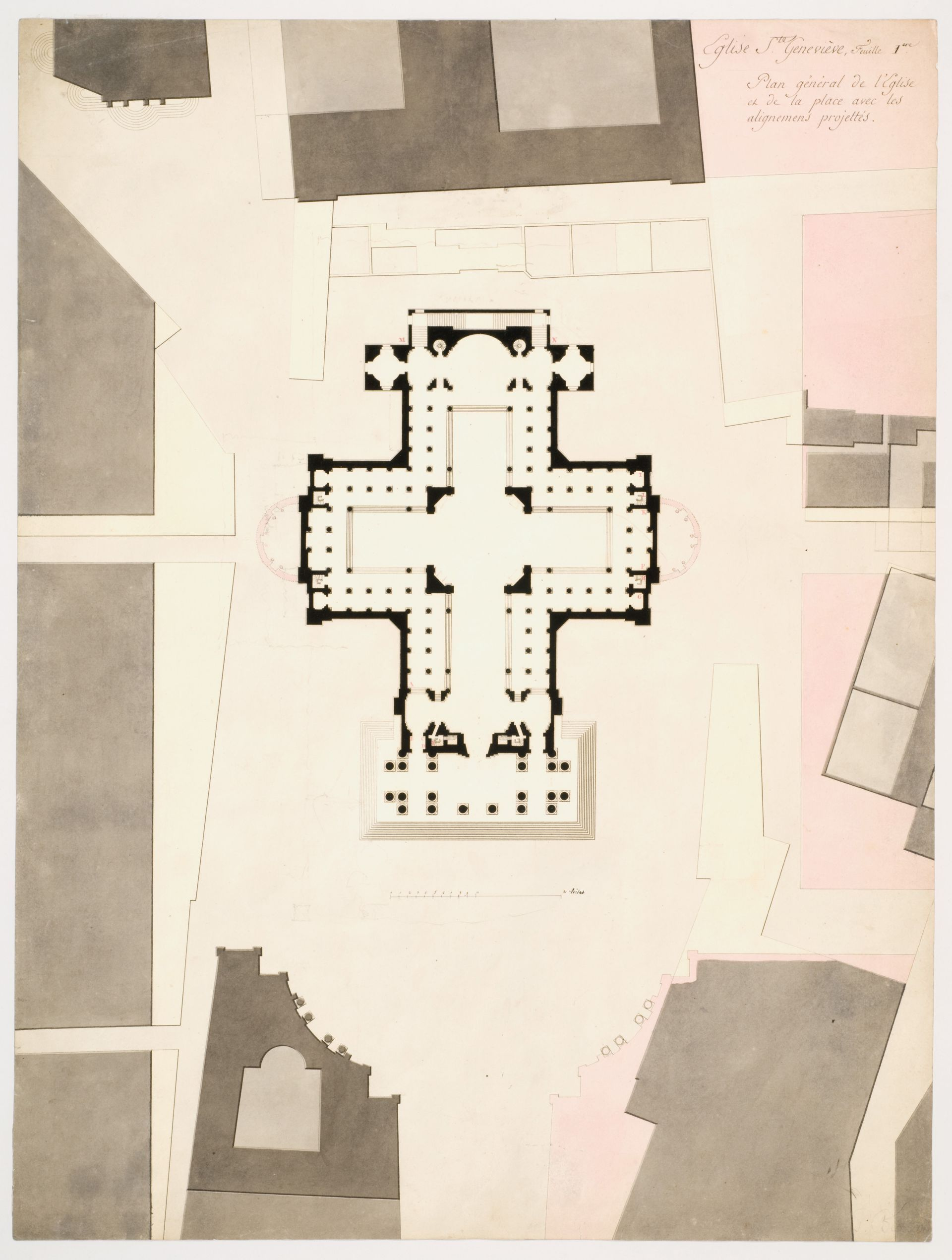 Louis Pierre Baltard Plan Showing Projected Alterations To Site And Church Of Sainte Genevieve 1809 How To Plan New Church French History
