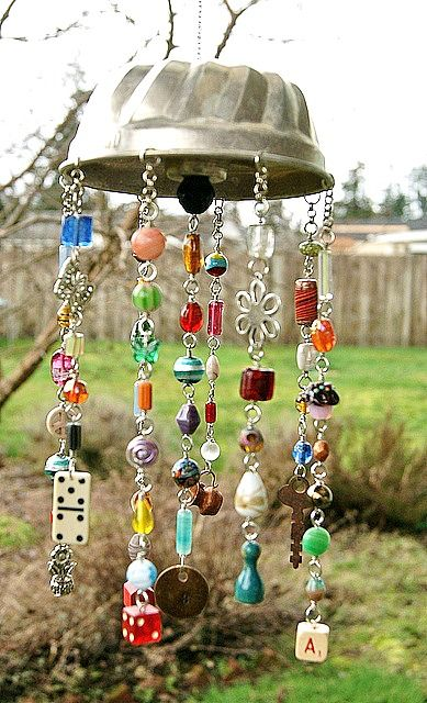 Wind chime made with a jello mold and beads.