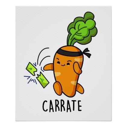 Carrate Cute Carrot Karate Pun Poster | Zazzle.com