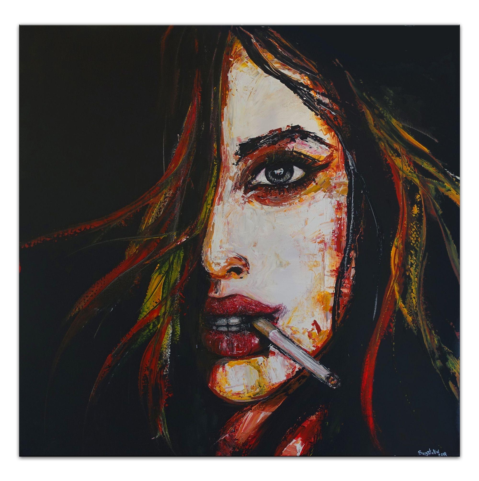art.work Wandbild 100x100cm Frau Handgemalt Leinwand GERAHMT Acryl Gemälde