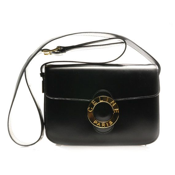 3335c7d06f Authentic 1980s Vintage CELINE Circle Design Elegant Black Leather Shoulder  bag.