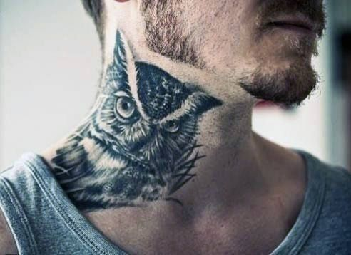 60 Bird Tattoos For Men From Owls To Eagles Owl Neck Tattoo Best Neck Tattoos Neck Tattoo For Guys