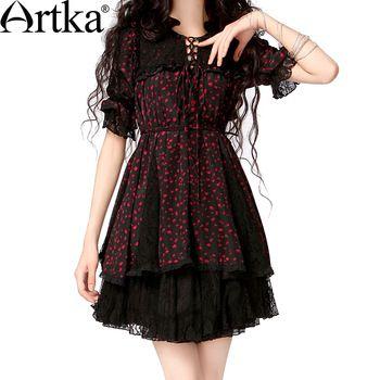 Artka Women'S Spring Casual Poyester Nylon Fashion  Half Sleeve Print Black Lace Drawstring Lacing Chiffon Shirt  SA10125X
