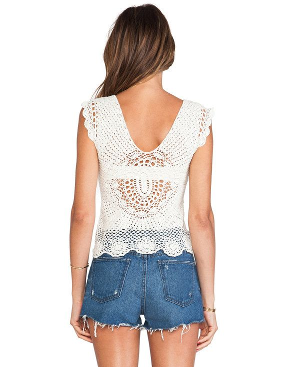 Designer crochet top PATTERN, crochet TUTORIAL in English for every ...